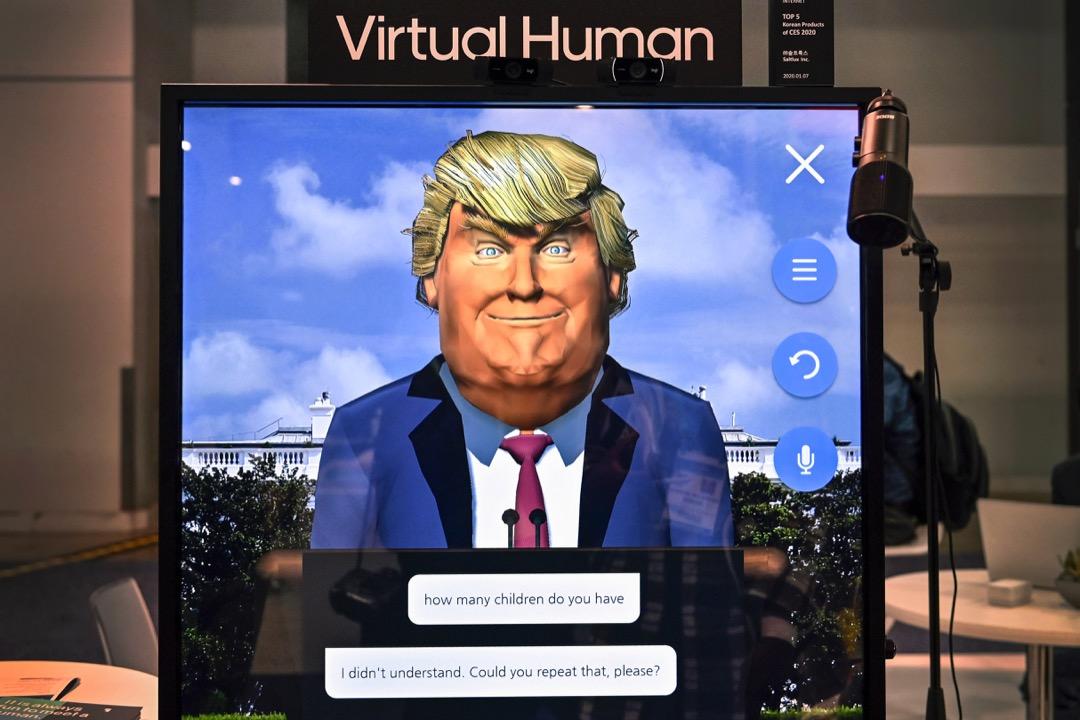 2020年1月,美國內華達州拉斯維加斯舉行消費電子展(CES),一家電子科技公司用時任美國總統特朗普的肖像,展示他們的人工智能技術。