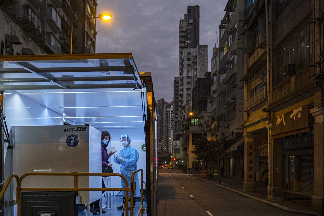 2021年1月20日佐敦,政府設置檢疫站及流動檢疫車,供市民接受2019冠狀病毒測試。