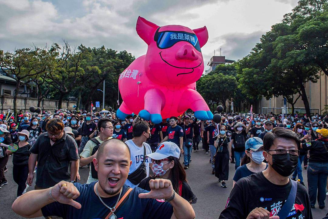 2020年11月22日台北,數十個團體舉行「秋鬥」大遊行,示威者遊行至民進黨總部,抗議蔡英文政府放寬從美國進口含瘦肉精豬肉。
