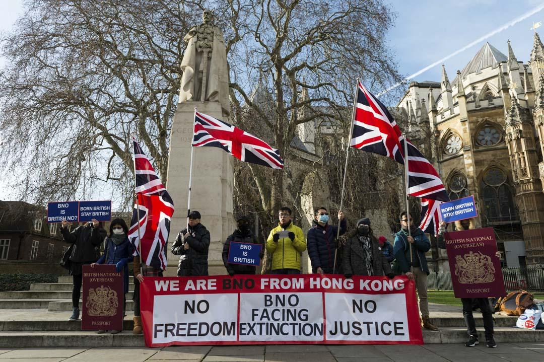 2020年1月29日,英國倫敦國會大廈外有香港人示威呼籲加強BNO的權利,因為根據目前的法例,BNO持有者屬英聯邦公民但非英國公民。