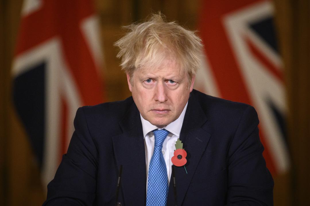 2020年11月5日,英國首相約翰遜在唐寧街一個記者會上。