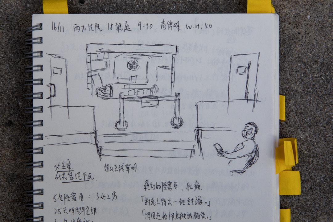 黃柏熹手繪的庭審畫面,畫中是延伸法庭,右邊是主庭上看到的周爸爸。
