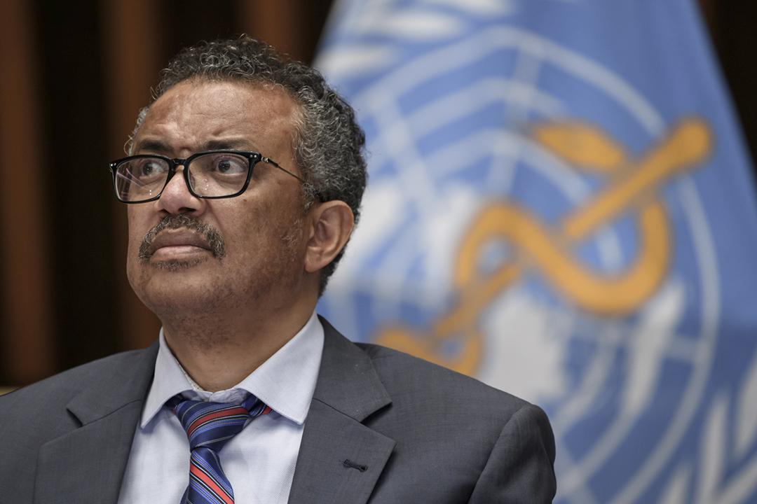 2020年7月3日在世界衛生組織位於瑞士日內瓦的總部,世衛總幹事譚德塞(Tedros Adhanom Ghebreyesus)出席記者會。 攝:Fabrice Coffrini / Reuters