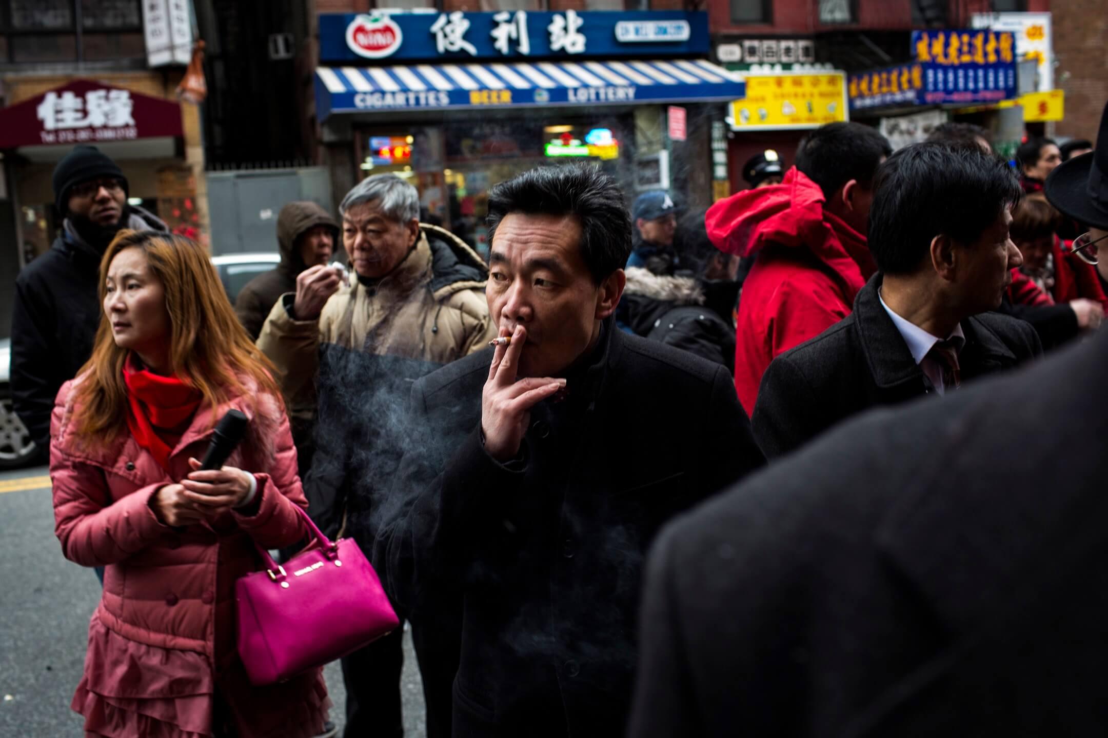 美國紐約,當地中國移民參加唐人街的農曆新年慶典。 攝:Andrew Lichtenstein/Corbis via Getty Images