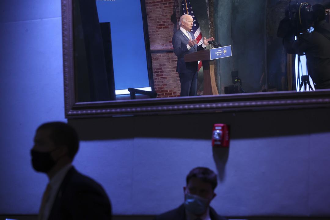 2021年1月6日,特拉華州威爾明頓,候任總統拜登在皇后劇院發表有關特朗普支持者闖進國會大樓的講話。