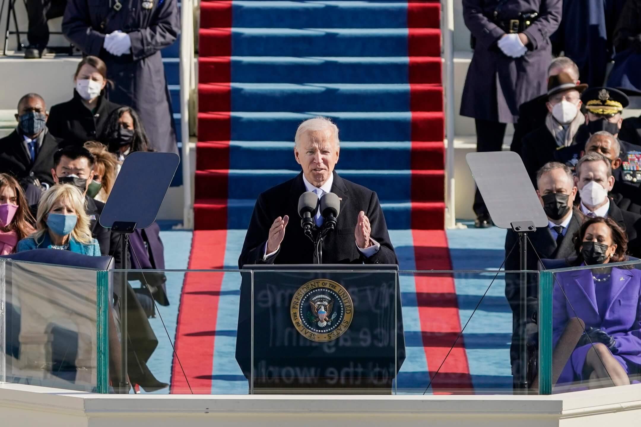 2021年1月20日,美國總統拜登在就職典禮上發表演說。 攝:Patrick Semansky/Pool via AP/達志影像