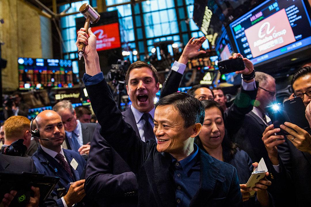 2014年9月19日紐約,阿里巴巴集團創始人兼執行董事長馬雲在紐約證券交易所慶祝阿里巴巴股票上市。