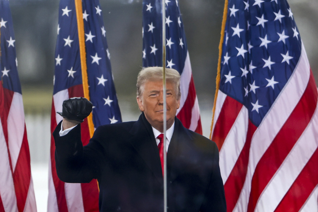 2021年1月6日,特朗普總統在華盛頓舉行的「制止盜竊」集會上發表講話。  攝:Tasos Katopodis/Getty Images