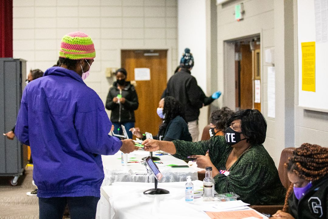 2021年1月5日,美國佐治亞州聯邦參議員選舉第二輪投票。 攝:Dustin Chambers/Getty Images