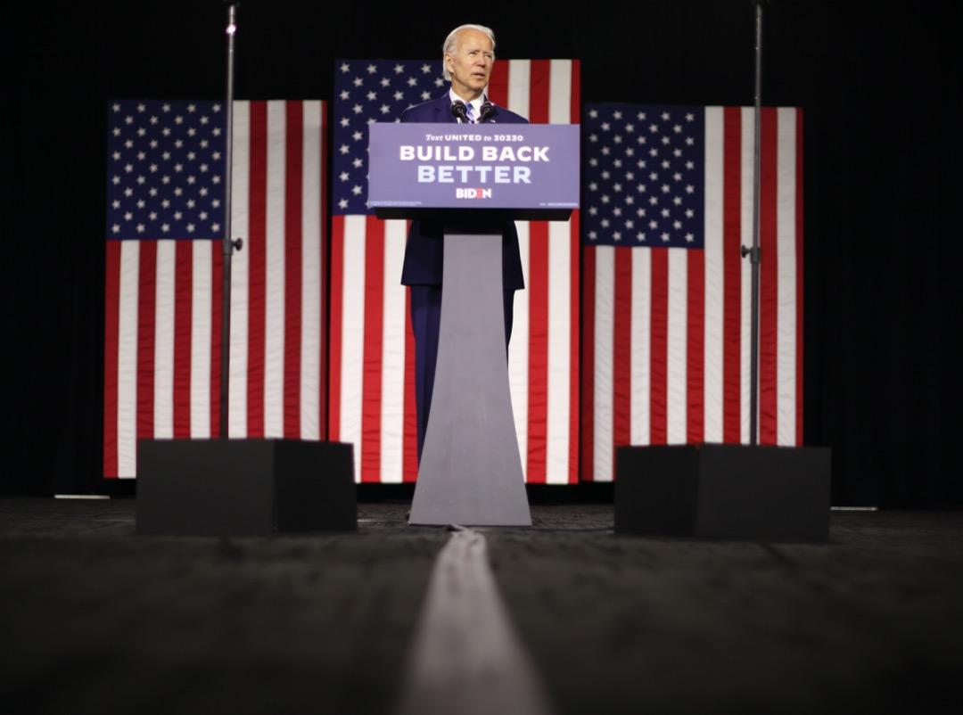 2020年7月14日,美國總統參選人拜登就他的「重建美好」(build back better)施政理念發表演說。