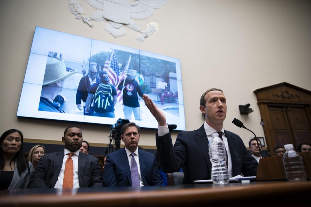 2019年10月23日,社交平台Facebook創辦人兼行政總裁朱克伯格出席眾議院聽證會。