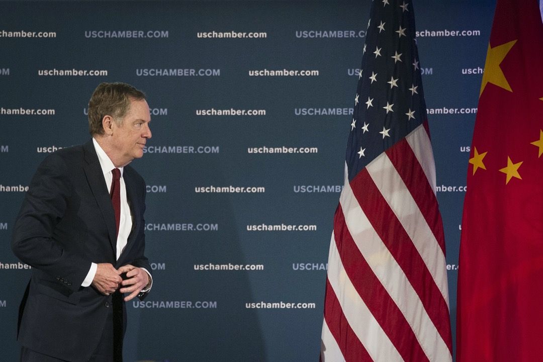 2018年5月,美國首都華盛頓特區,美國貿易代表萊特希澤在第九屆中國商務會議上發表演說。 攝:Cliff Owen/AP/達志影像