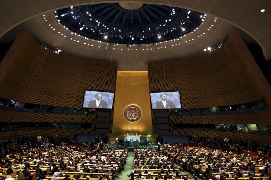 2009年9月22日,美國總統奧巴馬在紐約聯合國總部舉行的氣候變化峰會上發表講話。