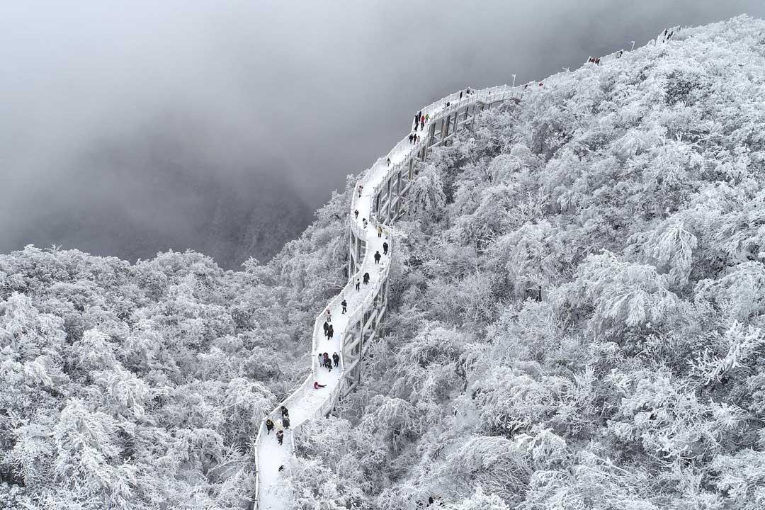2020年12月5日,湖南張家界迎來入冬第一場雪。 攝: Shao Ying/VCG via Getty Images