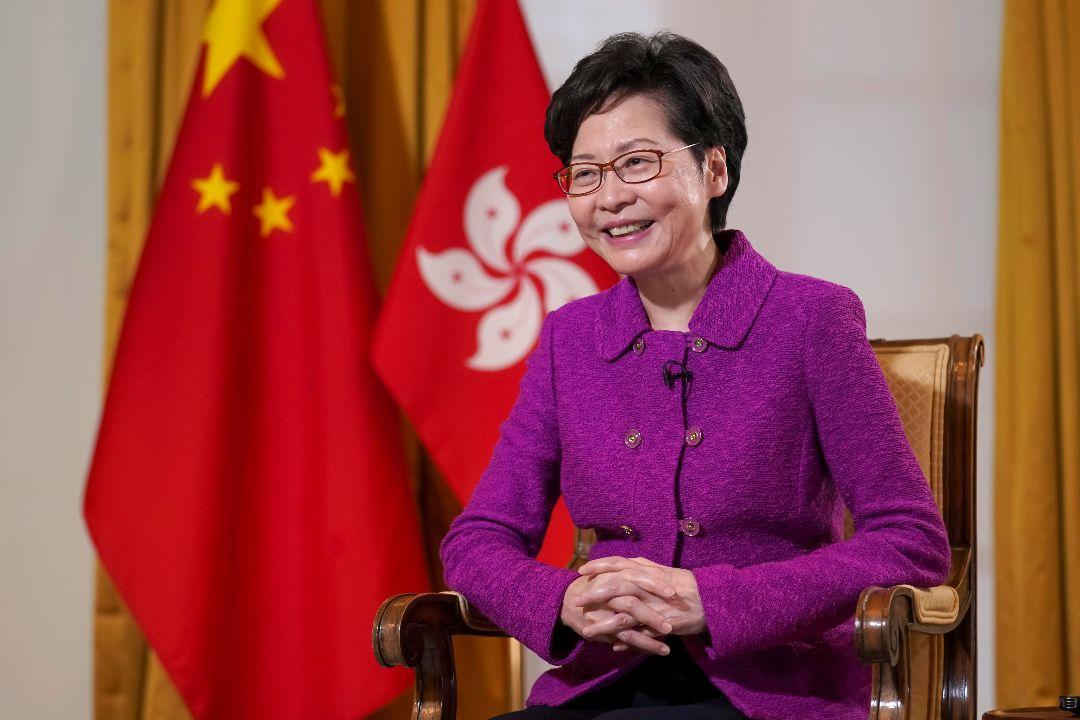 2020年10月16日,香港行政長官林鄭月娥在香港接受採訪。 攝:Zhang Wei/Getty Images