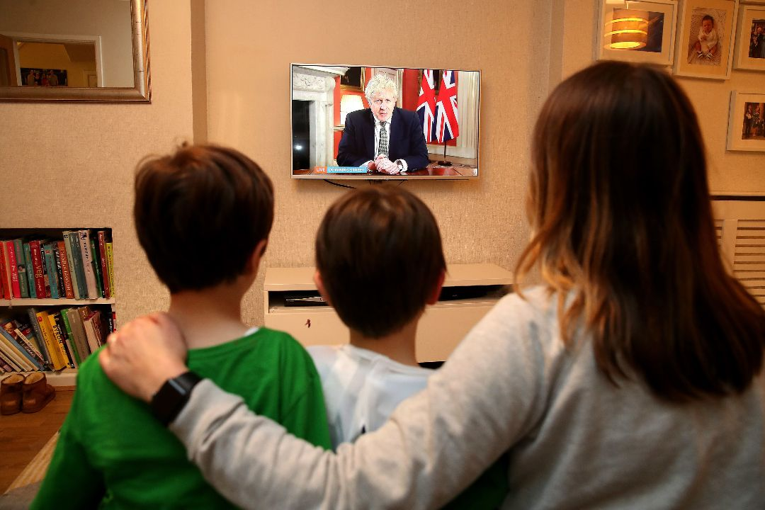 2021年1月4日,英國首相約翰遜宣布全國再度封鎖。 攝:Martin Rickett/Getty Images
