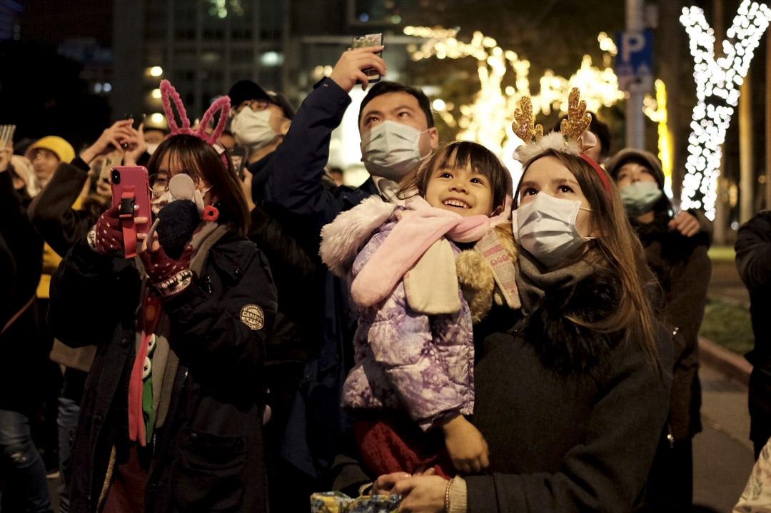2021年1月1日,台北101大樓施放跨年煙火。