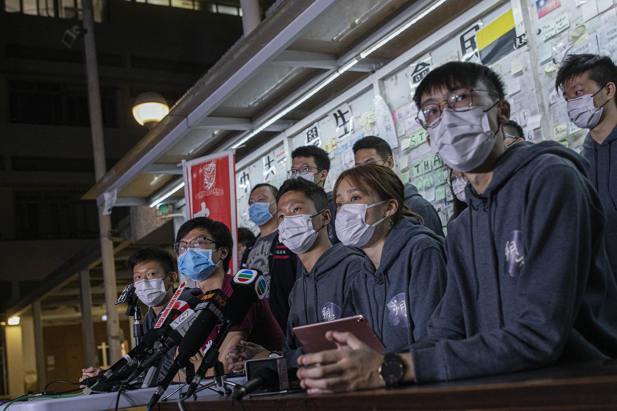 2021年2月26日中文大學,中大學生會唯一參選內閣「朔夜」召開記者會。 攝:陳焯煇/端傳媒