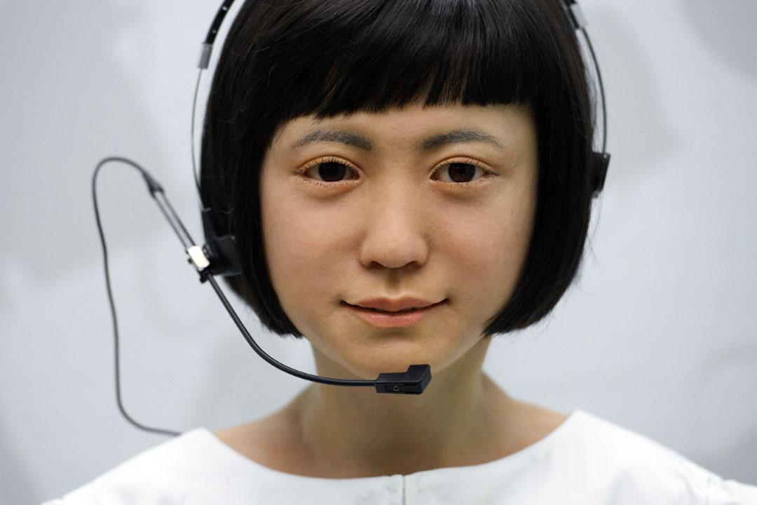 2017年2月7日倫敦,一個通信機器人在機器人展覧中。