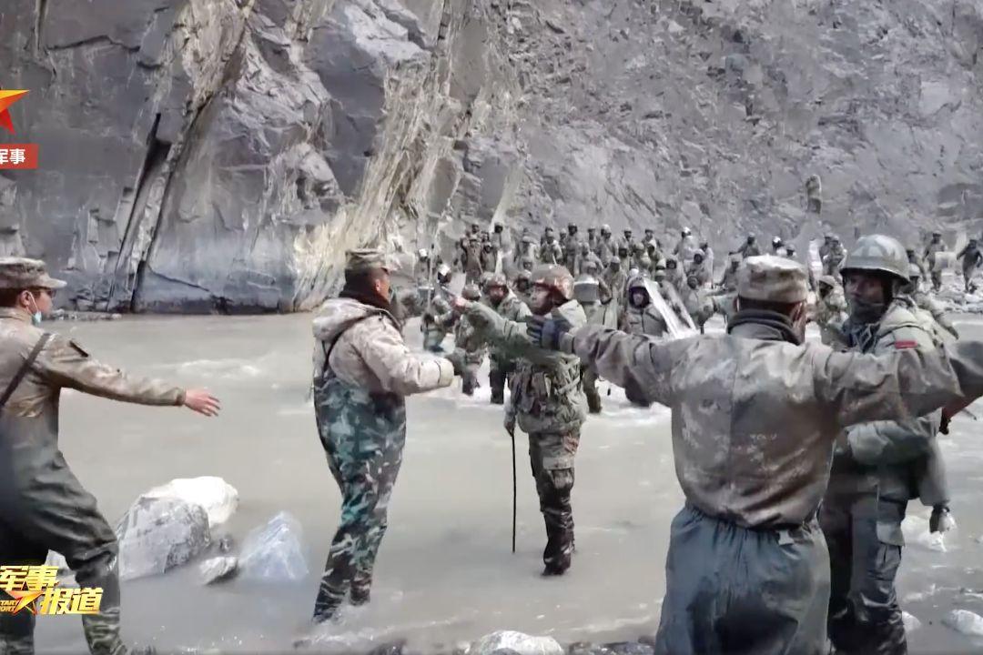 2020年6月中旬,中印兩軍在爭議性邊界發生衝突。 圖片來自央視錄像截圖