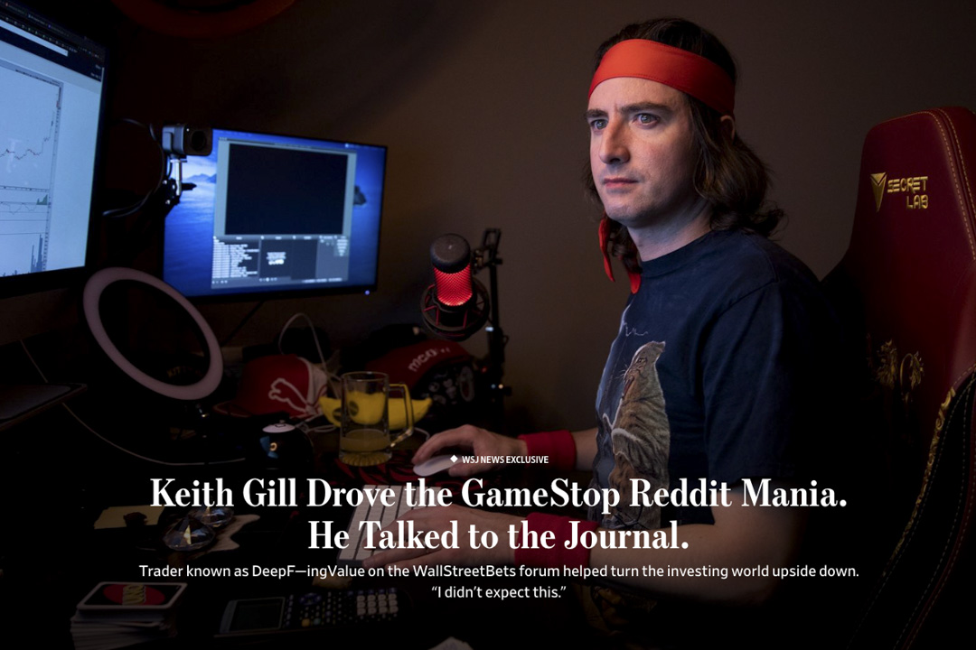 GameStop軋空狂潮推手凱斯·基爾接受《華爾街日報》(The Wall Street Journal)專訪。有生以來第一次接受採訪的他說:「我支持這些散戶投資者,支持他們發聲的權力。」 圖片來源:《華爾街日報》(The Wall Street Journal)網上截圖