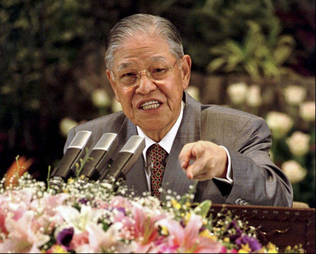 1997年5月15日,台灣總統李登輝在台北總統府舉行的新聞發布會上。