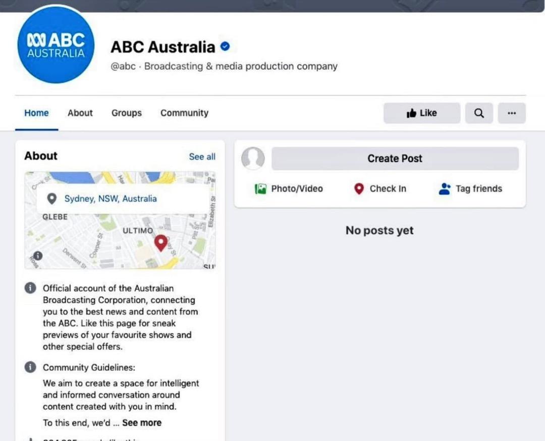 澳洲廣播公司的Facebook頁面,所有內容無法顯示。