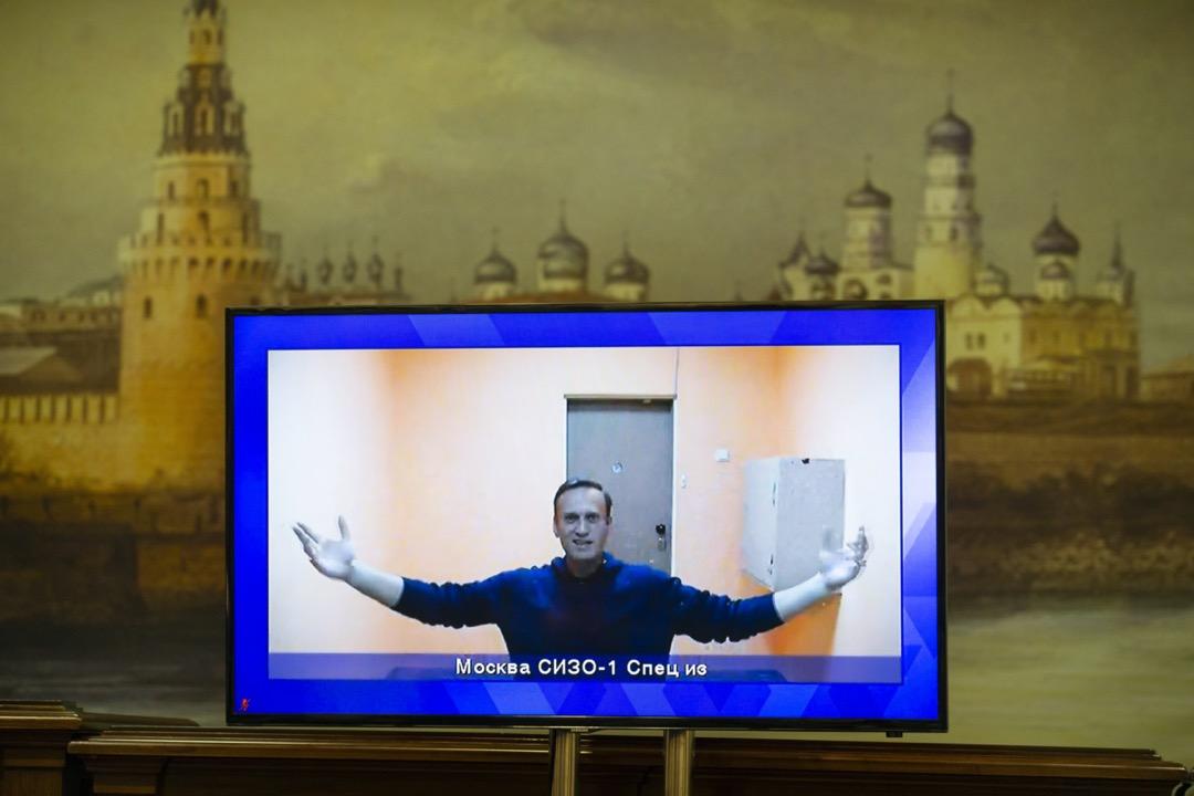 2021年1月28日,俄羅斯莫斯科法院,反對派領袖納瓦尼用直播方式應訊。