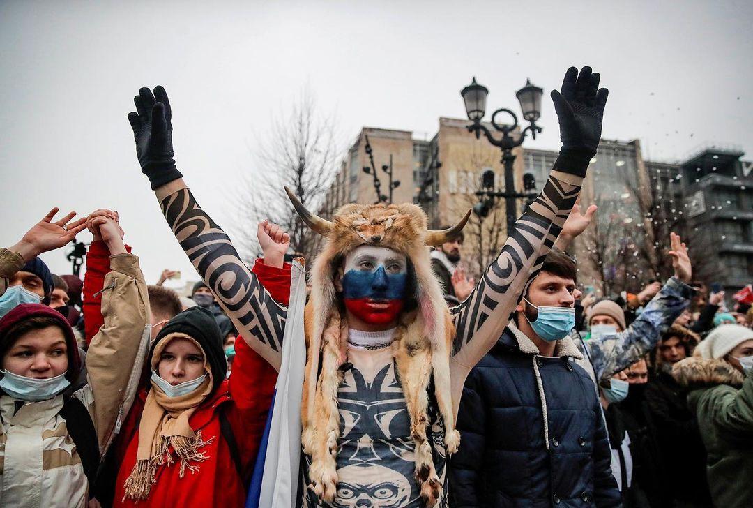 2021年1月23日,俄羅斯首都莫斯科,有示威活動聲援被扣押的反對派領袖納纳瓦利。
