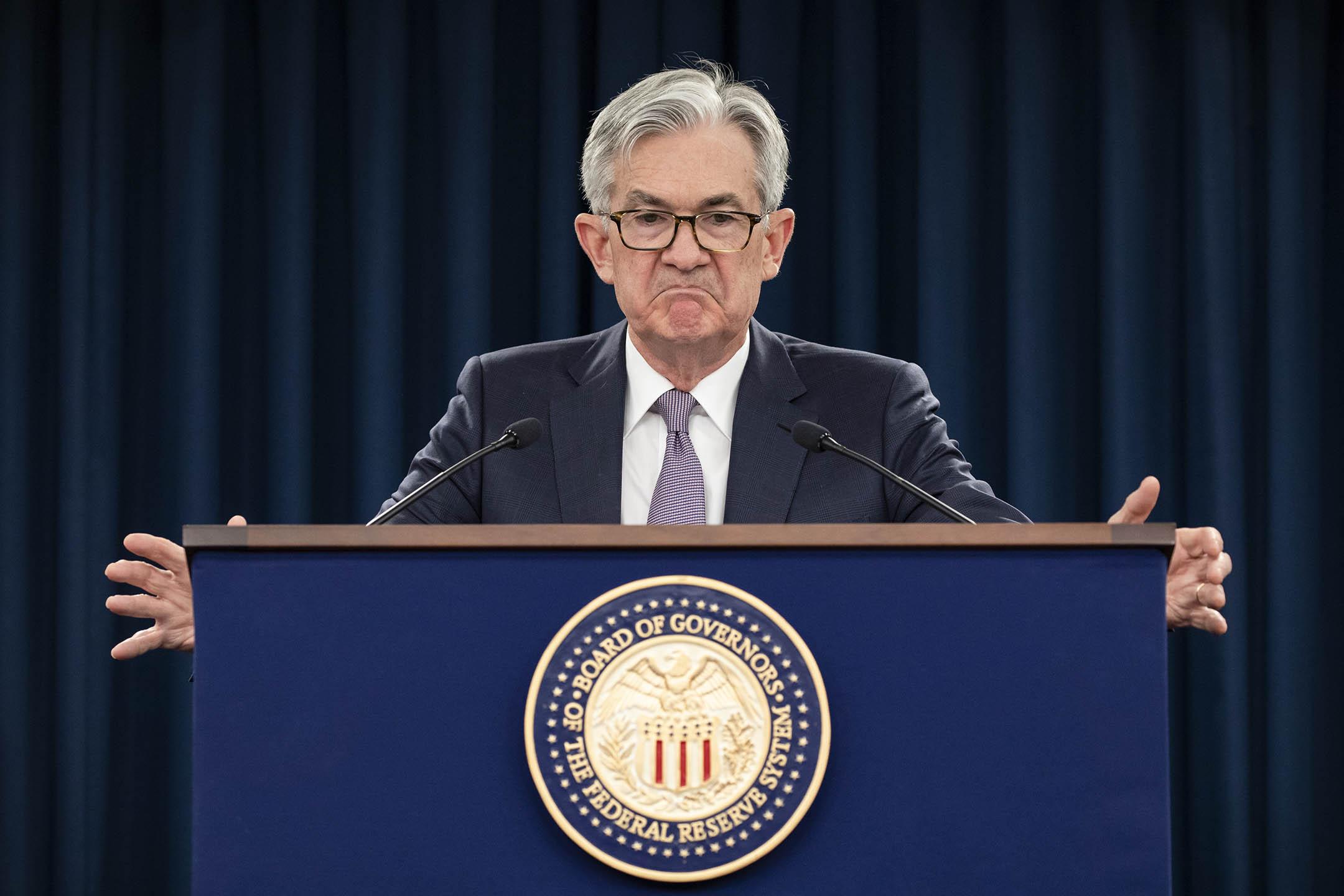 2020年1月29日華盛頓特,美聯儲主席傑洛姆·鮑爾在新聞發布會上講話。