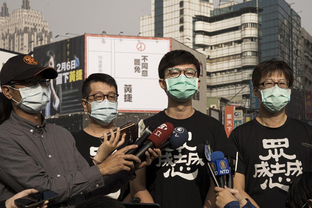 2021年1月23日高雄,尹立、張博洋、陳冠榮,呼籲選民投下不同意罷免票。