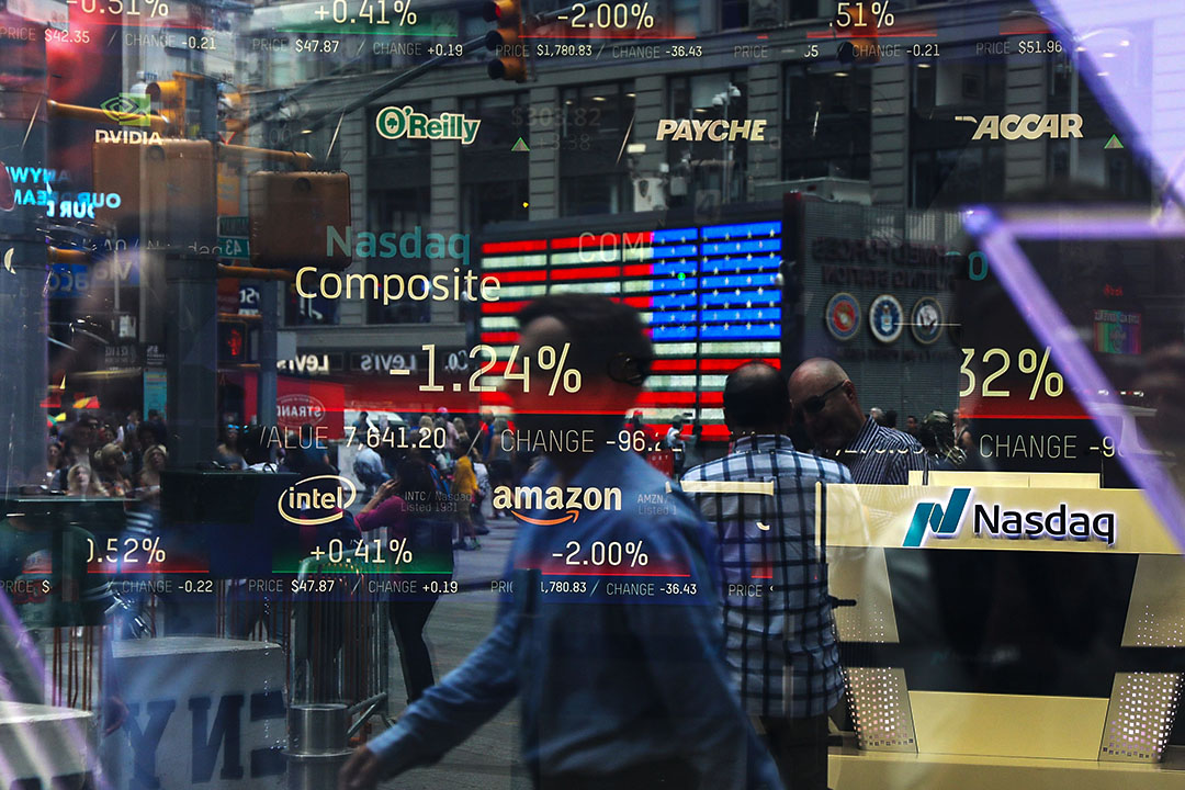 2018年7月30日紐約時代廣場,納斯達克股票交易所。