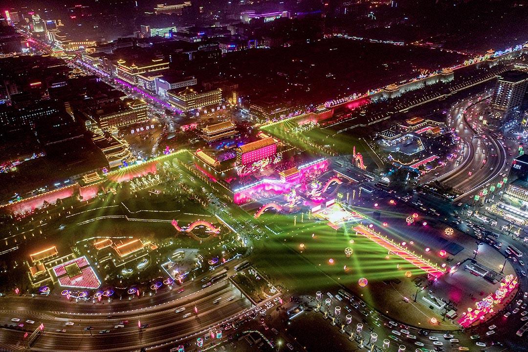 2019年1月28日西安,農曆新年期間的燈飾。