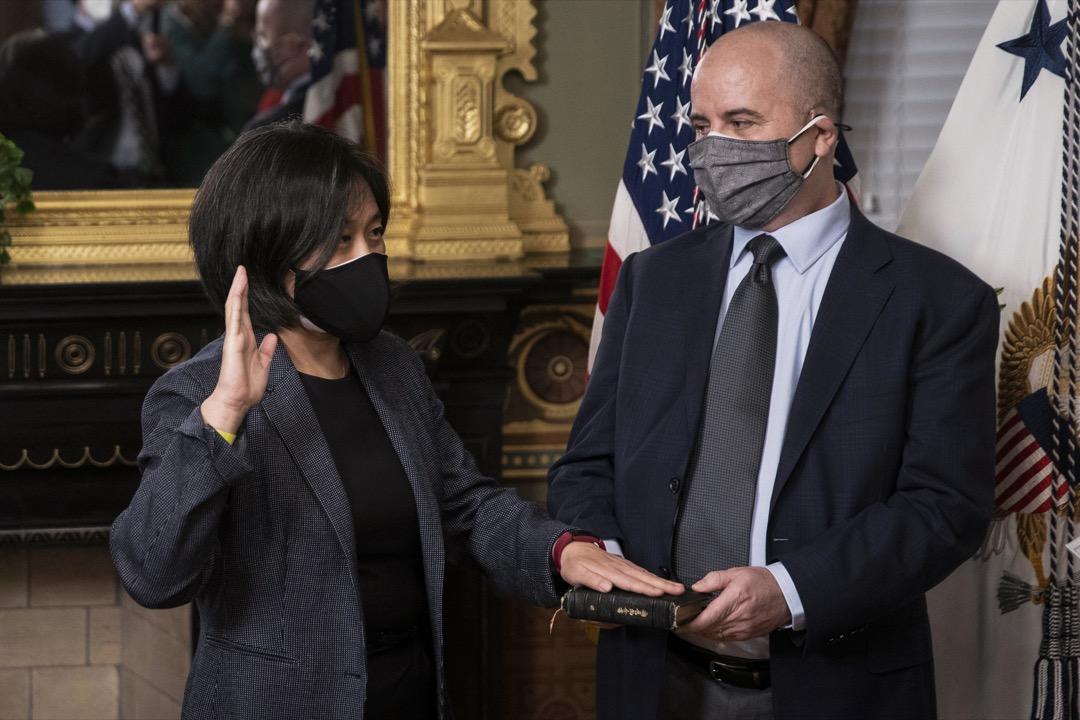 2021年3月18日,新任美國貿易代表戴琪宣誓就職。