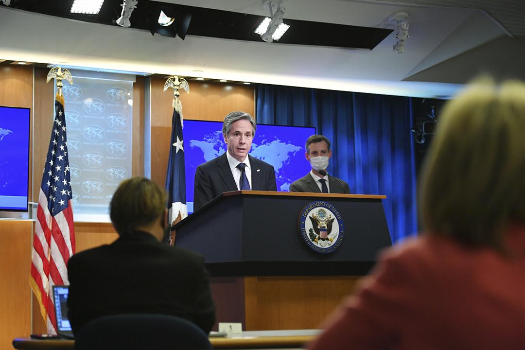 2021年3月30日,美國國務卿布林肯(Antony Blinken)出席發表2020年度《全球人權年報》的記者會。 攝:Mandel Ngan / Reuters