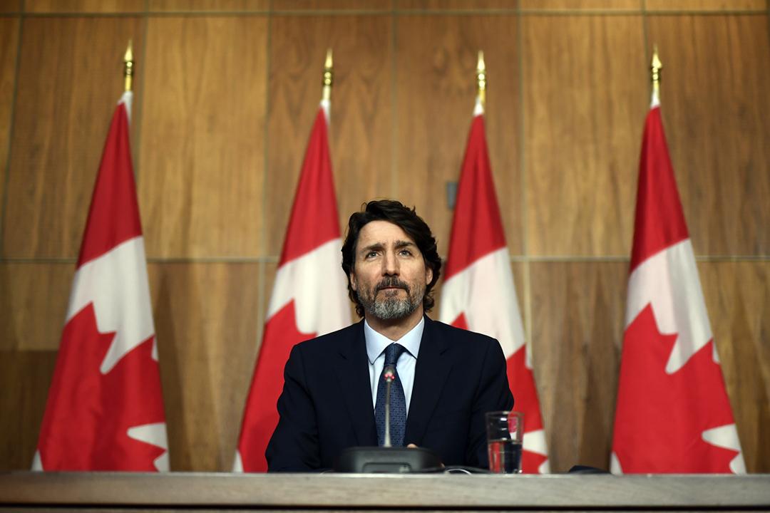 2021年3月12日,加拿大總理杜魯多(Justin Trudeau)在首都渥太華出席記者會。 攝:Justin Tang / The Canadian Press via AP