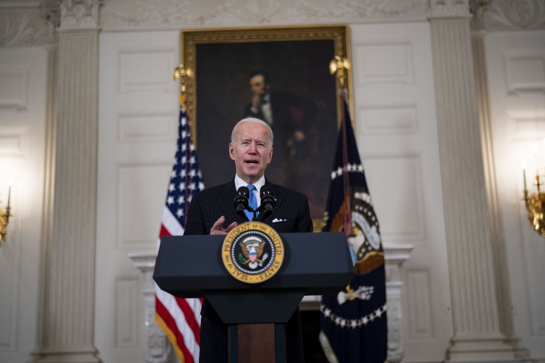2021年3月2日,拜登在白宮舉行記者會。 攝:Doug Mills/Getty Images