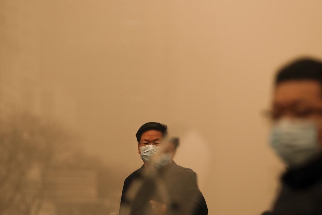 2021年3月15日晨,北京部分地區空氣污染達最高等級6級,能見度僅300~800米。