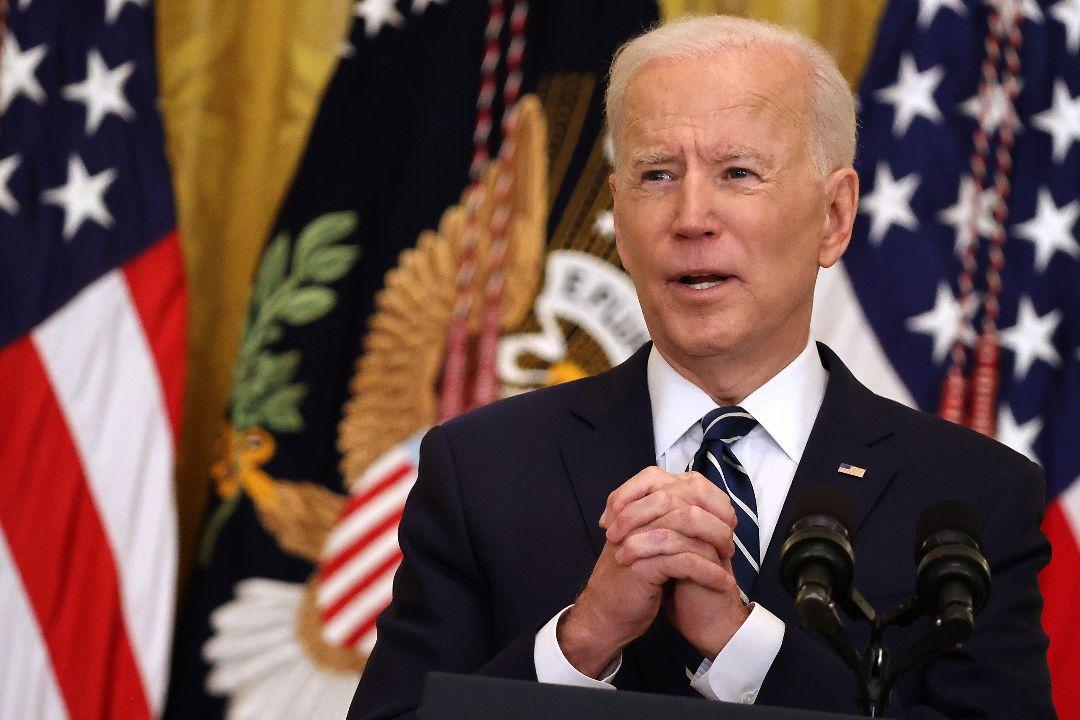 2021年3月25日,美國總統拜登舉行上任後首次正式新聞發布會。 攝:Chip Somodevilla/Getty Images