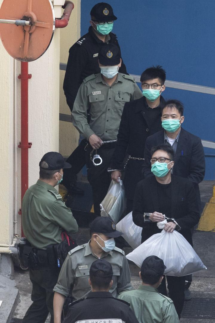 2021年3月2日9點45分,涉案的香港眾志前秘書長黃之鋒、民主黨前主席胡志偉、以及人民力量譚得志離開荔枝角收押所。