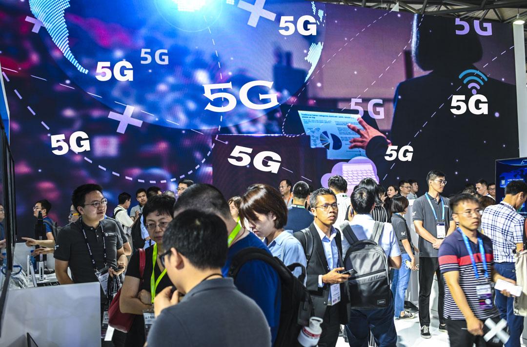 2019年6月27日,上海新國際博覽中心舉行的2019年世界移動通信大會(MWC)中有不少的5G廣告。