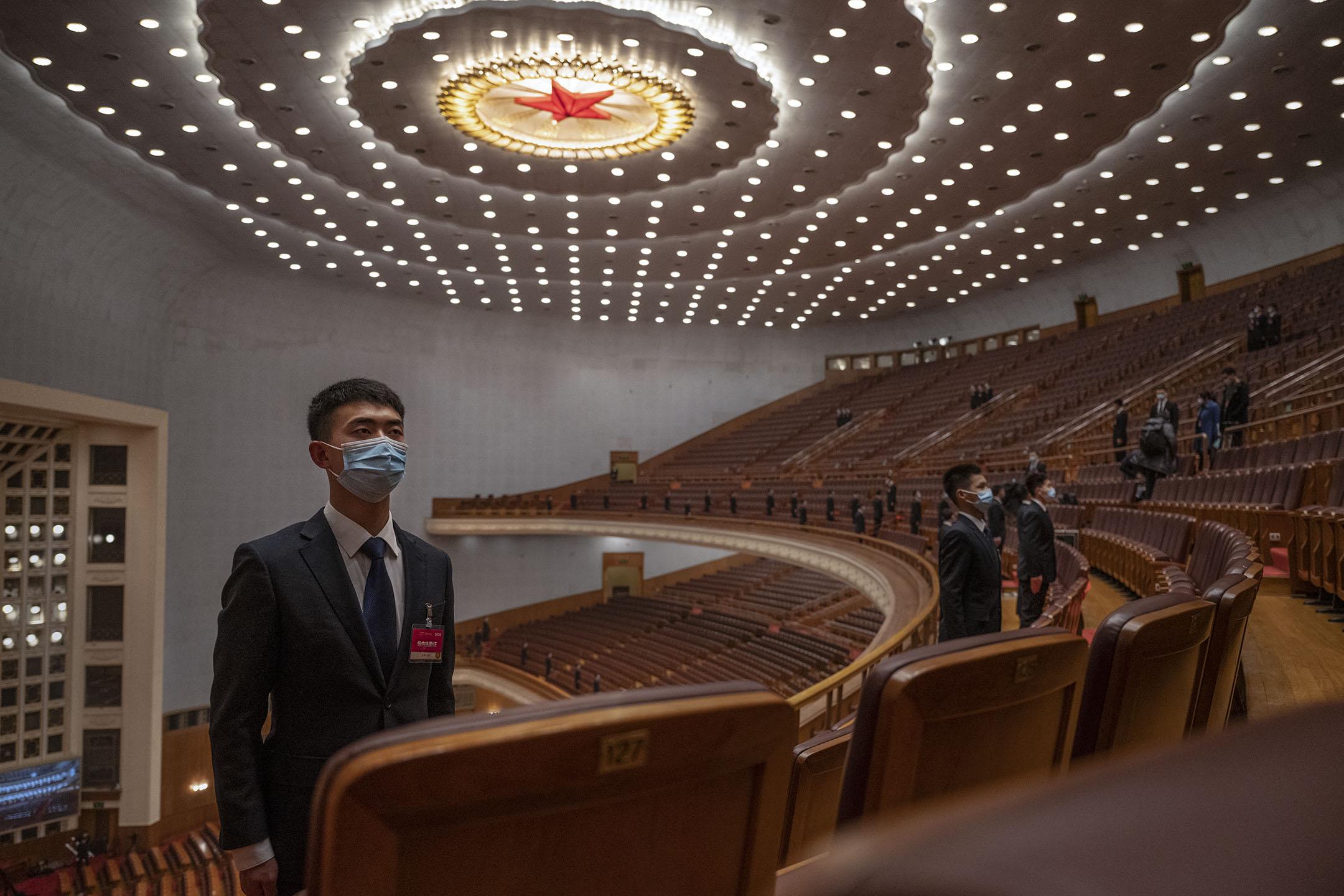 2021年3月4日,中國政治協商會議在北京人民大會堂開幕。 攝:Kevin Frayer/Getty Images
