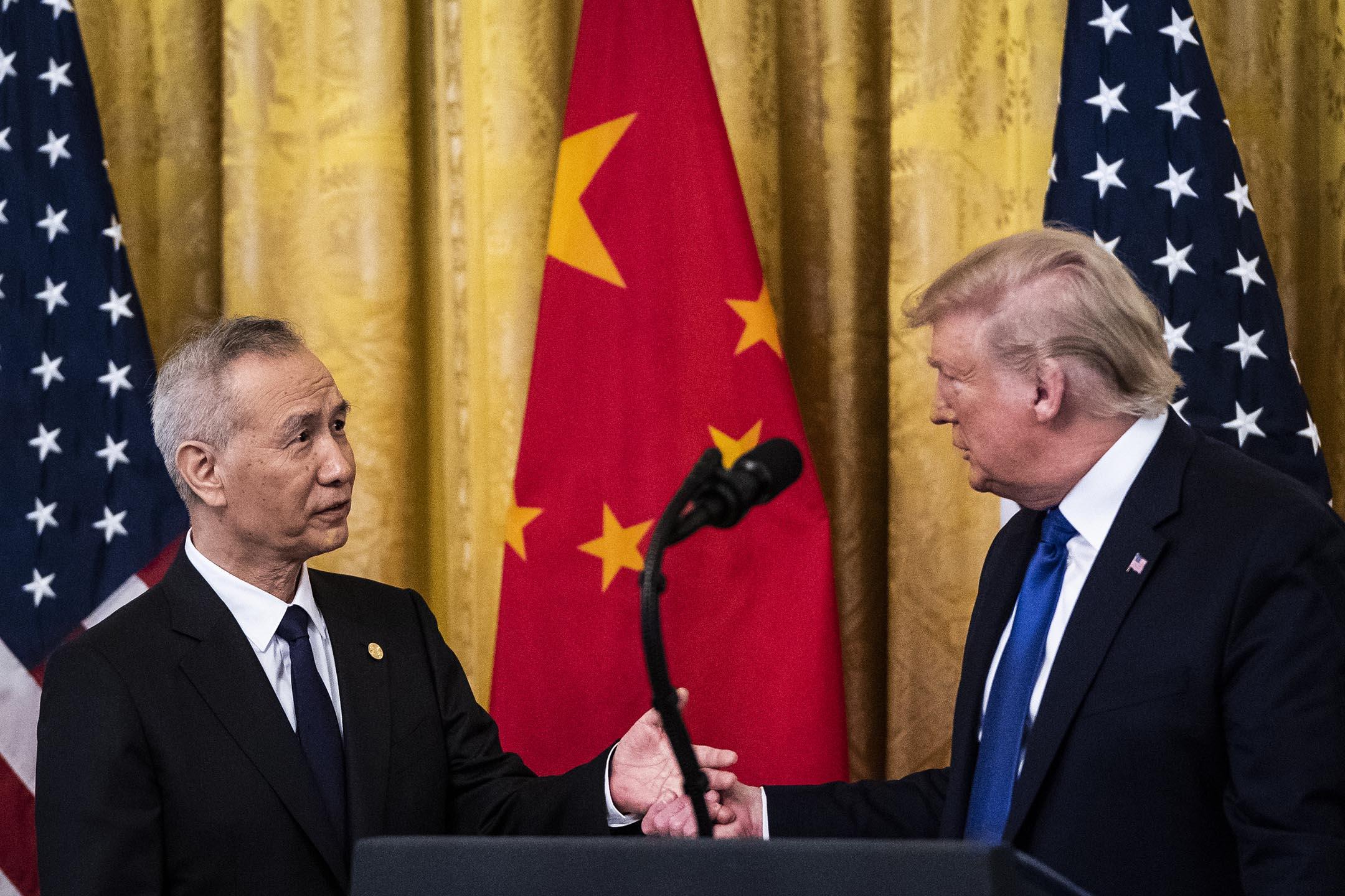2020年1月15日華盛頓,特朗普總統在白宮與中華人民共和國副總理劉鶴簽署貿易協定前發表講話。 攝:Jabin Botsford/The Washington Post via Getty Images