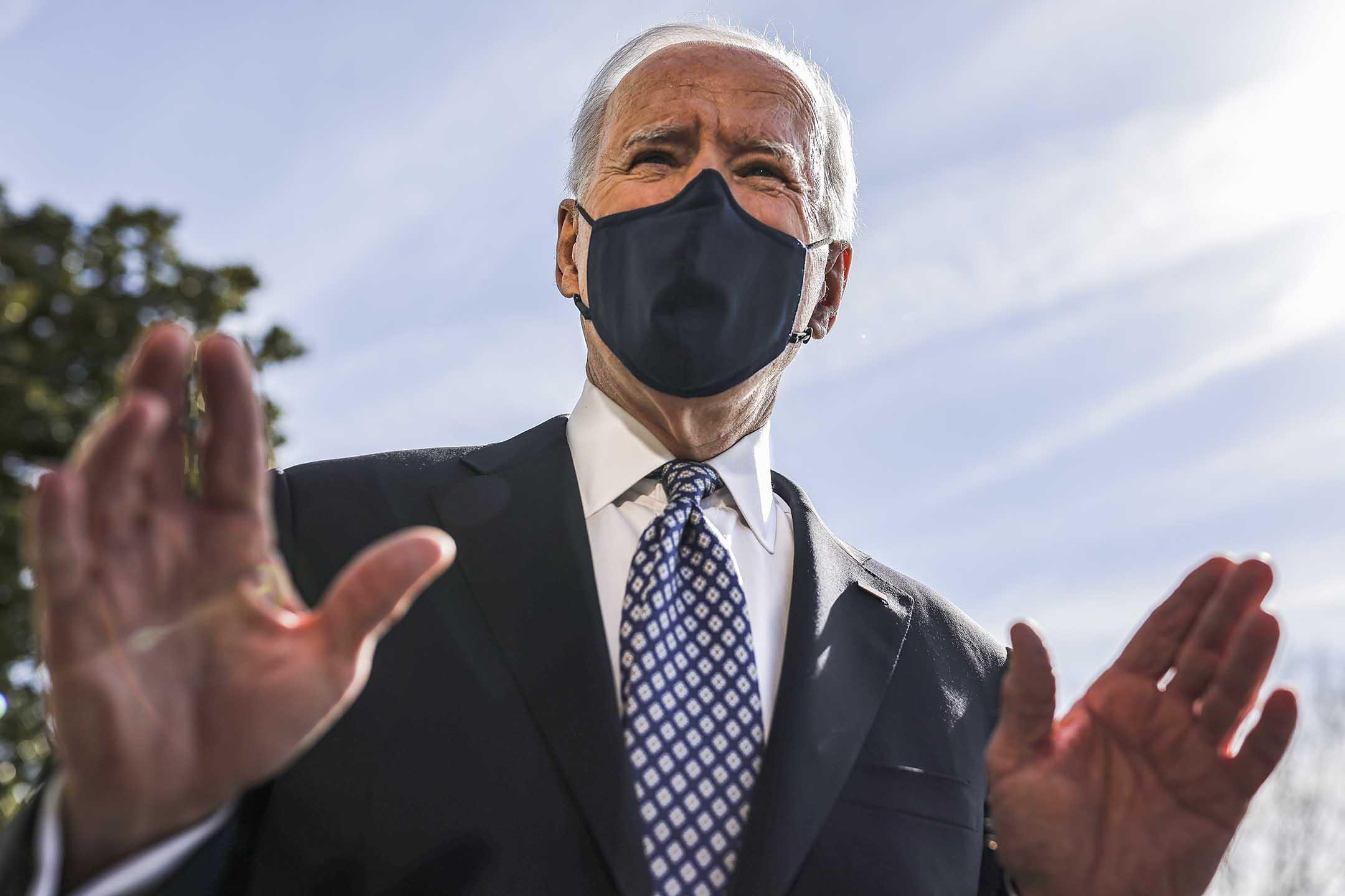 2021年3月19日華盛頓,美國總統喬·拜登戴上口罩講話。