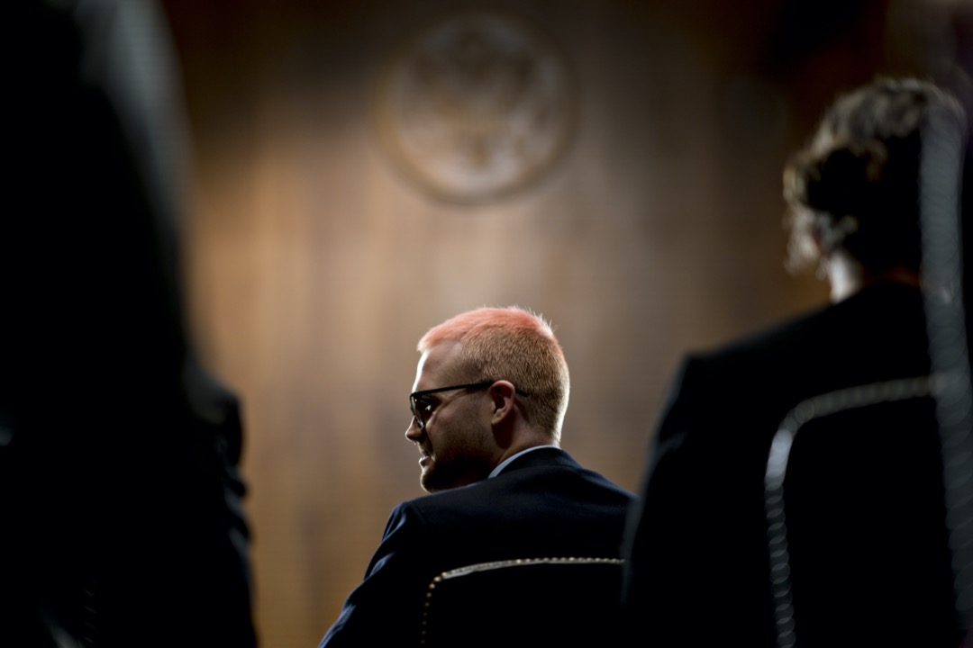 2018年5月16日,美國首都華盛頓特區,「劍橋分析公司醜聞」吹哨人懷利(Christopher Wylie)出席參議院司法委員會聽證會。