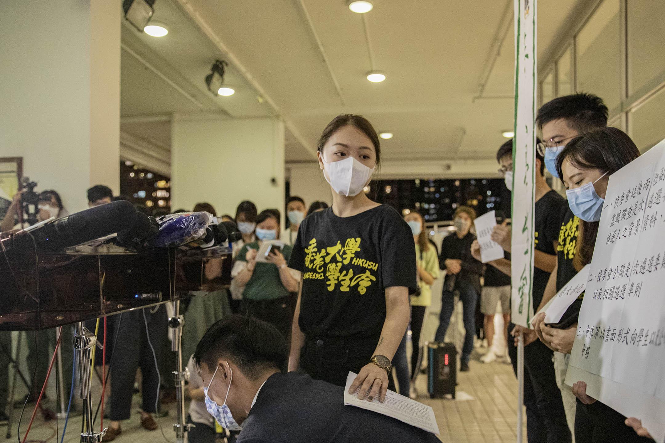 2020年10月27日,香港大學學生會抗議校委會任命新副校長,葉芷琳接受媒體訪問。