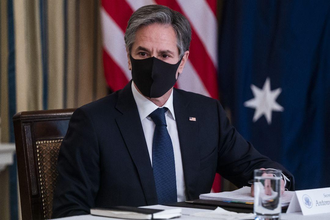 2021年3月12日,美國國務卿布林肯(Antony Blinken)出席與日本、澳洲、印度領導人的在線會談。 攝:Jim Lo Scalzo/Getty Images