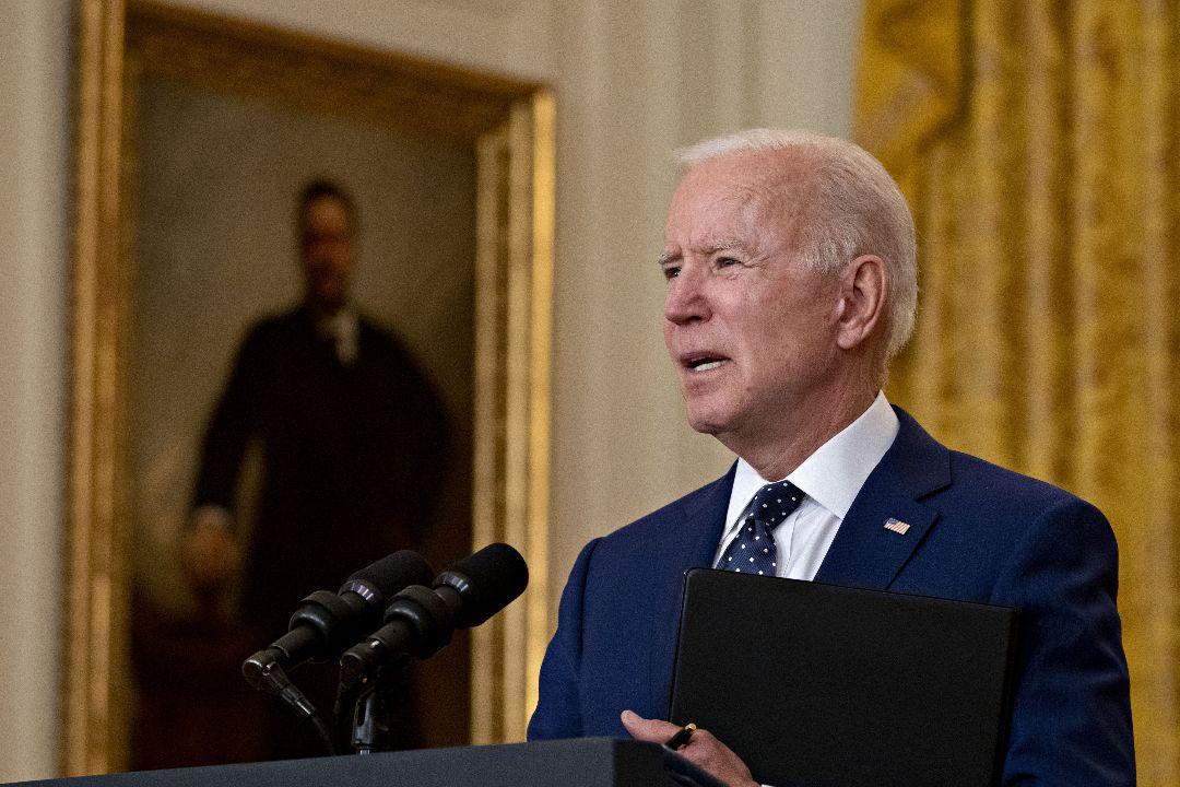 2021年4月15日,美國總統拜登在白宮發表講話。 攝:Andrew Harrer/Getty Images