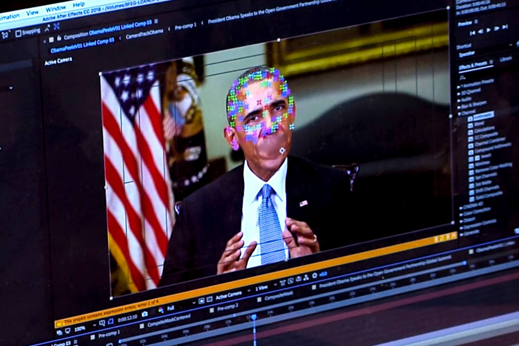 一條美國前總統奧巴馬的Deepfake深偽視頻的製作過程。 攝:AP/達志影像