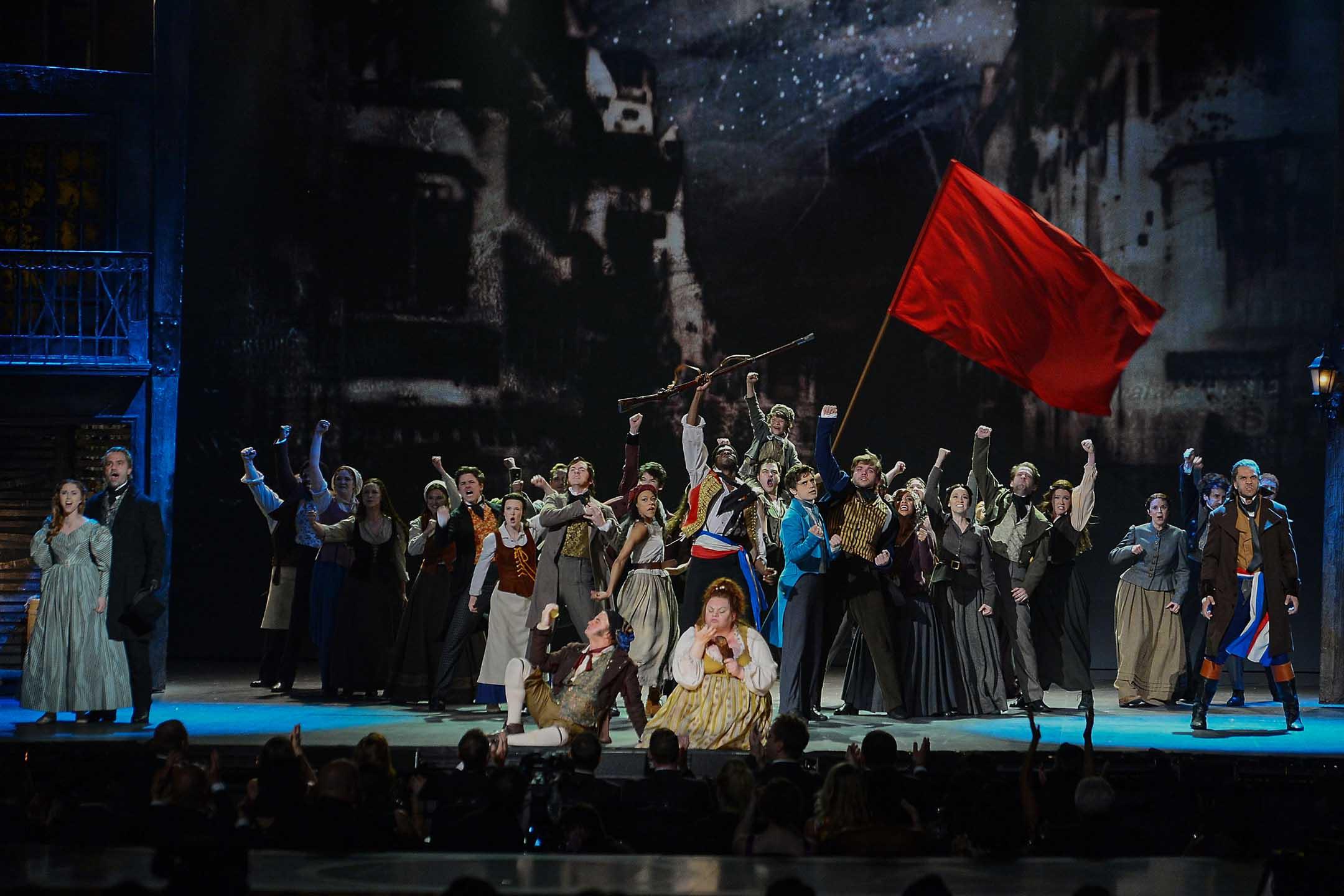2014年6月8日紐約,《悲慘世界》在音樂廳演出。